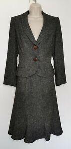 Ladies Brown Grey Tweed Style 2-piece Skirt & Blazer Minuet Size 10