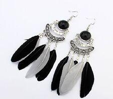 1 Long Bohemian Pair of Feather Tassels Dangle  Earrings - Black & Grey # 516