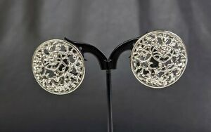 Lovely Silver-tone Clip Openwork Earrings Signed Sarah Coventry Jewellery