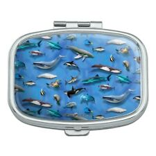 Ocean Life Whale Dolphin Manatee Shark Pattern Rectangle Pill Case Box