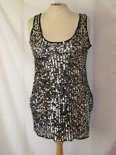 River Island Black Silver Sequin Mini Dress Long Top Size 14 Party Evening Short