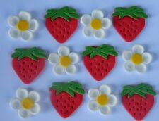 12 edible STRAWBERRY & FLOWERS cake topper decoration CUPCAKE wedding FRUIT