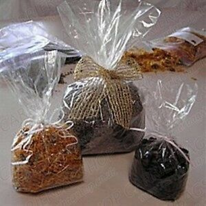 """100 x  Cellophane  food bags CLEAR  Parties/Weddings  - 3"""" x 7"""" + 1.5"""" Base"""