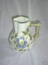 R S GERMANY  White on White Blue Gold Floral Pitcher