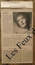 Article Pygmalion, Jeanne Moreau , photo, Bernard Shaw ,Bouffes Parisiens1955