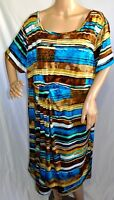 First Glance Women Plus Size 3x 24 Bohemian Teal Brown Casual Work Dress