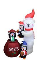 Animated Christmas LED Inflatable Polar Bear Penguins Cookie Jar Yard Decoration