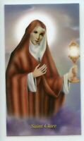 St. Clare - Relic Laminated Holy Card - Blessed by Pope Francis