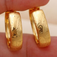 Twist Women Gift Party Hoop Earrings Ds 18K Gold Filled - Laser Carved Heart