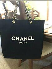 New Chanel Paris VIP gift canvas black tote bag (Gold chain )