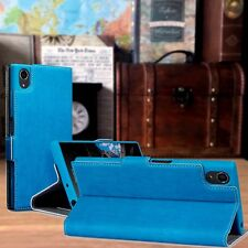 ION  Leather Composite Design Sophisticated Wallet Blue Case For Xperia XA1 PLUS