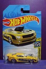 Hot Wheels MOONEYES '10 PRO STOCK CAMARO in Yellow, HW SPEED GRAPHICS Long Card.