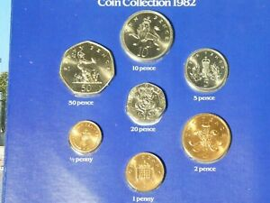 1982 Full British Uncirculated Decimal 7 Royal Mint Coin Set in Booklet #1982A