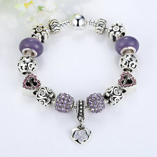 18cm 925 Silver Purple Murano Glass Crystal Charm Bracelet Chain European Style