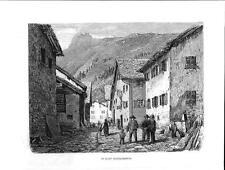 Stampa antica HINTERRHEIN Grigioni Graubunden Switzerland 1877 Old Print