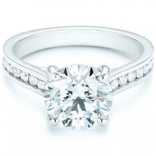 2.50 Ct Gorgeous Round Cut Channel Set Engagement Fine Ring In 14K White gold