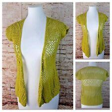 Smart Set S Green Cap Sleeve Open Knit Crochet Open Front Light-Weight Cardigan