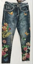 Bejeweled Leggings Jeggings Susan Fixel Butterfly Roses THIN 009M Size S