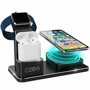 Wireless QI Desktop Metal Charging Dock With Watch Stand   COBIA ™️