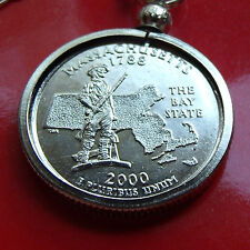 "MASSACHUSETTS  Platinum Plate Gem 2000 Quarter Pendant on a 30"" 925 Silver Chain"
