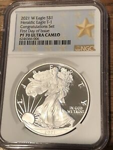 2021 W $1 SILVER EAGLE CONGRATULATIONS SET NGC PF70 FIRST DAY OF ISSUE