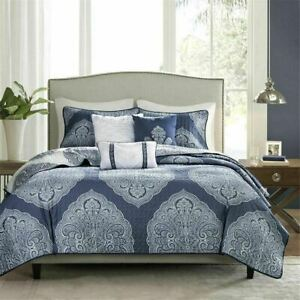 MADISON PARK 6 Piece Reversible Quilted Coverlet Set Navy/Multi-Color New