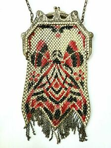Mandalian Mfg Co Antique Mesh Purse with Red & Black Enamel Butterfly Both Sides