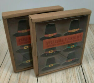 NEW! Thanksgiving Pilgrim Hat Place Wine Glass Markers Drink 2 Boxes - Total 24
