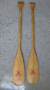 RENEGADE Brand 42 INCH Vintage Solid Wood Canoe Paddles , INDIAN HEAD