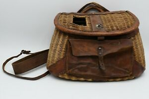 Vintage Wicker Fishing Creel Basket With Leather, w/ Strap & Pocket Fly Fishing