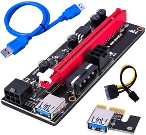 GPU Riser VER 009S PCI-E with USB 3.0 60 cm USB Cable Blue*Pack of 4* latest GPU