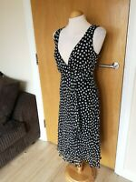 Ladies PAPAYA Dress Size 12 Black White Spotted Smart Party Evening Wedding