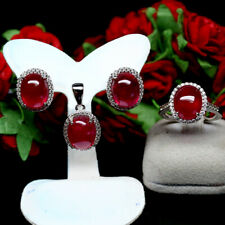 NATURAL SET 9 X 11mm CABOCHON RED RUBY & CZ 925 STELRING SILVER (RING SIZE 6.75)