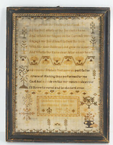 Antique Folk Art Americana or English Needlepoint Religious Sampler 1801