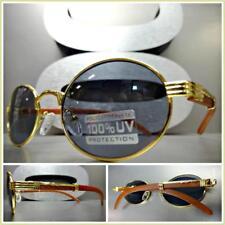 Men's Classy Sophisticated SUN GLASSES Oval Gold & Wood Wooden Frame Dark Lens