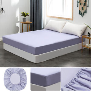 MOHAP 40CM Deep Pocket Bed Fitted Sheet Bottom Sheet King Size Dyed Light Purple