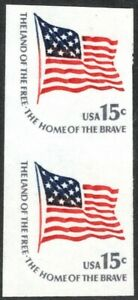 1597e 15 cent Flag Horizontally Imperforate Error Pair