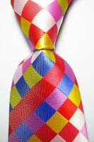 New Classic Checks Red Blue Yellow White JACQUARD WOVEN Silk Men's Tie Necktie