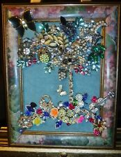 Jewelry Art Tree of Life, in Painted Vintage Estate Frame, signed by Artist