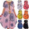 Damen Hippie Minikleid Tunikakleid Freizeit Sommerkleid Lagenlook Strandkleid 48