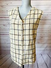 NWT Boyne Valley Weavers Ivory Plaid Chenile Vest Handcrafted in Ireland Size 1X