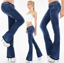 Ladies Hip Jeans Trousers Bootcut Flare Stretch Flarecut Frayed Xs S M L XL