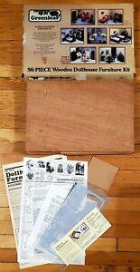 Vintage Greenleaf 56 Piece Wooden Dollhouse Furniture Kit 1982 Made In USA