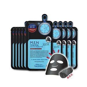 MEDIHEAL M.E.N TIMETOX CHARCOAL MINERAL MASKS-10 SHEETS.US-SELLER!+GIFT &SAMPLES