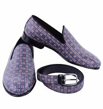 Dolce & Gabbana Gift Set From Milano Slippers Loafers Shoes Belt Blue 04882
