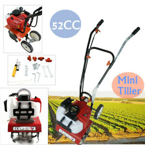 Petrol Cordless Cultivator Rotavator Tiller Garden Soil Vegetable Patch 52cc