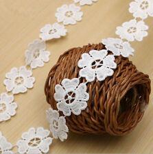 6 Yards White Milk silk flowers lace Trim Wedding Bridal Ribbon decoration craft
