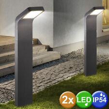2x LED Außen Steh Stand Lampen Grundstück Garten ALU Glas Leuchten anthrazit
