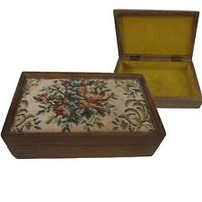 """Vintage wooden box hinged jewelry trinket tapestery, lined appx 8""""x5.25x2.5"""