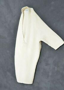 CELINE PARIS Womens Jumper L Sleeveless Sweater Pullover 100% Cashmere Off White
